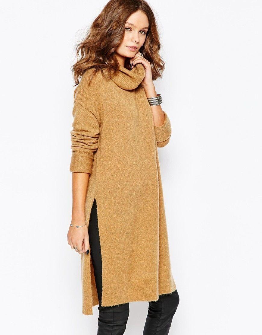 4e1e96a09a8 Вязаное платье с воротником труба и разрезами по бокам ASOS