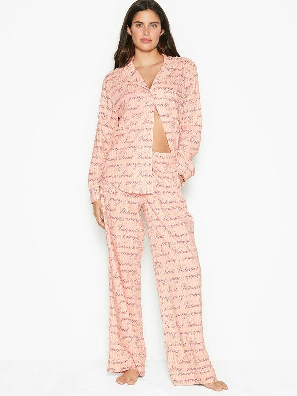 Хлопковая пижама Cotton Long PJ Set Victoria's Secret
